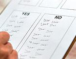 Zettel auf einem Klemmbrett mit Ja- und Nein-Stimmen