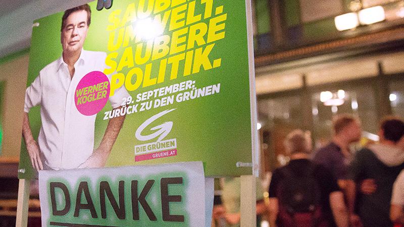 Kogler-Plakat auf Wahlparty