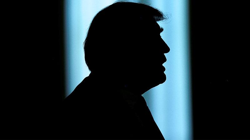 Silhouette von US-Präsident Donald Trump