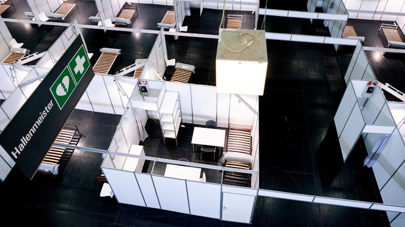 Neu errichtete Krankenbetten in Wien