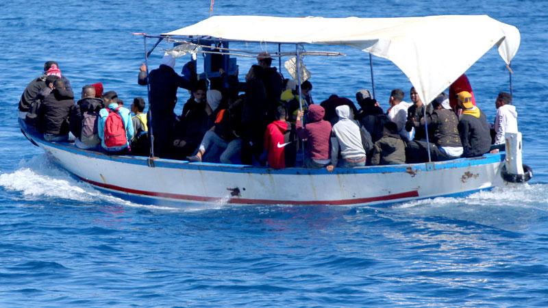 Migranten vor Lampedusa