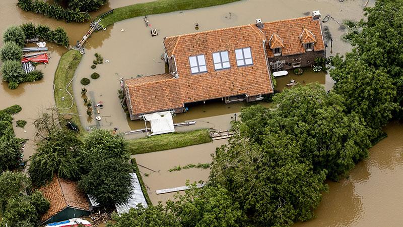 Überflutetes Haus