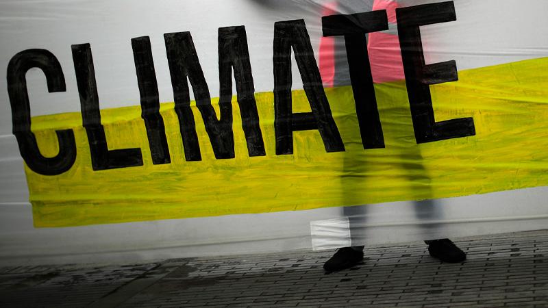 Transparent mit der Aufschrift Climate