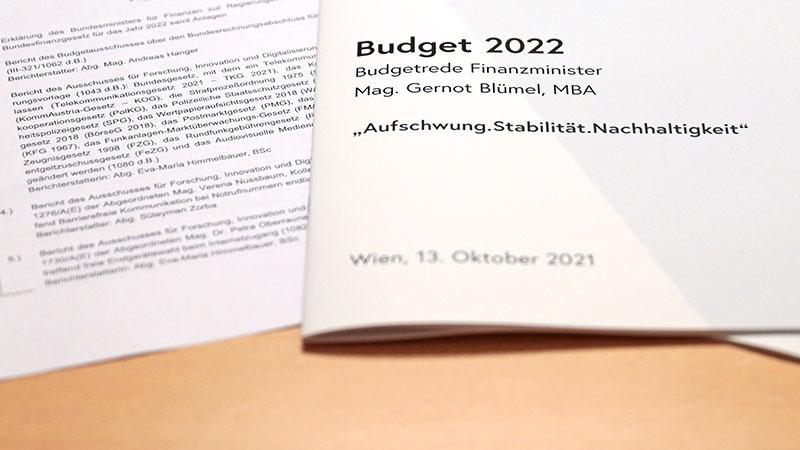 Ausdruck der Budgetrede von Finanzminister Gernot Blümel (ÖVP)
