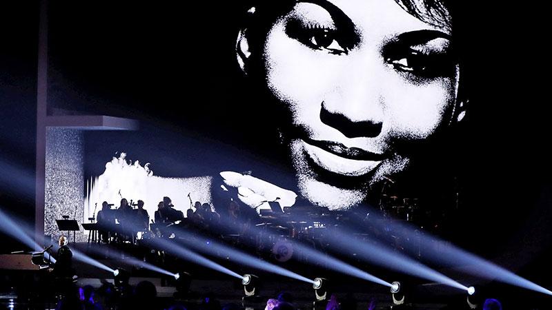 Aretha Franklin auf einer Leinwand